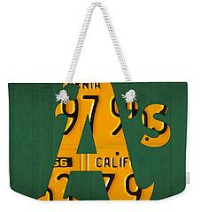 Oakland Athletics Vintage Baseball Logo License Plate Art Weekender Tote Bag