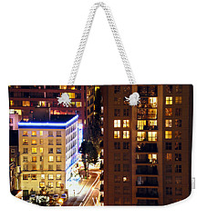 Weekender Tote Bag featuring the photograph Observation - Man In Window Dclxxxi by Amyn Nasser