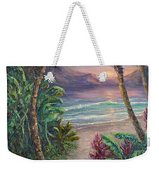 Ocean Sunrise Painting With Tropical Palm Trees  Weekender Tote Bag
