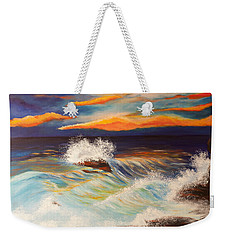 Weekender Tote Bag featuring the painting Ocean Sunset by Michelle Joseph-Long