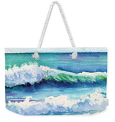 Weekender Tote Bag featuring the painting Ocean Waves Of Kauai I by Marionette Taboniar