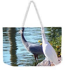Weekender Tote Bag featuring the photograph Odd Couple by Deb Halloran