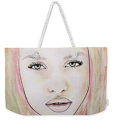 Weekender Tote Bag featuring the mixed media Of Colour And Beauty - Pink by Malinda Prudhomme
