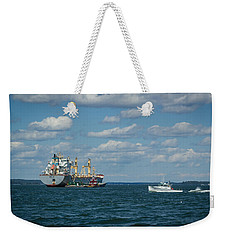 Weekender Tote Bag featuring the photograph Oil Tanker And Lobster Boat by Jane Luxton