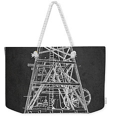 Oil Well Rig Patent From 1893 - Dark Weekender Tote Bag by Aged Pixel