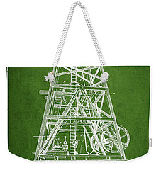 Oil Well Rig Patent From 1893 - Green Weekender Tote Bag by Aged Pixel
