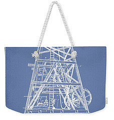 Oil Well Rig Patent From 1893 - Light Blue Weekender Tote Bag by Aged Pixel