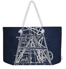 Oil Well Rig Patent From 1893 - Navy Blue Weekender Tote Bag by Aged Pixel