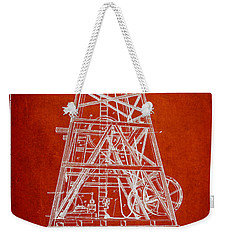 Oil Well Rig Patent From 1893 - Red Weekender Tote Bag by Aged Pixel