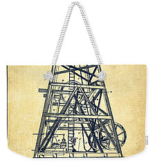 Oil Well Rig Patent From 1893 - Vintage Weekender Tote Bag by Aged Pixel
