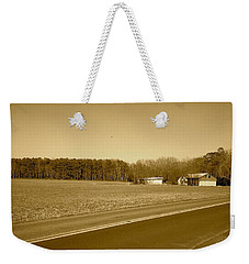 Weekender Tote Bag featuring the photograph Old Barn And Farm Field In Sepia by Amazing Photographs AKA Christian Wilson