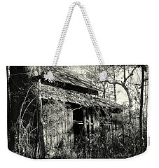 Weekender Tote Bag featuring the photograph Old Barn In Black And White by Lisa Wooten