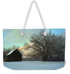 Old Barn In Snow Weekender Tote Bag