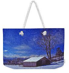 Old Barn In Winter Weekender Tote Bag by Richard Farrington