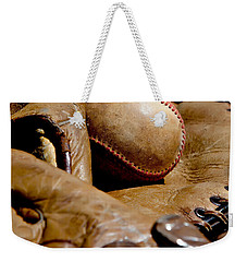 Old Baseball Ball And Gloves Weekender Tote Bag by Art Block Collections