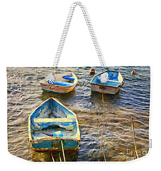 Weekender Tote Bag featuring the photograph Old Bermuda Rowboats by Verena Matthew