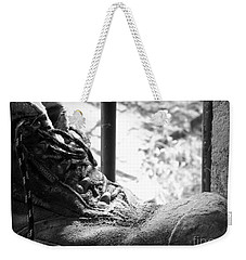 Weekender Tote Bag featuring the photograph Old Boots by Clare Bevan