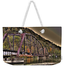 Weekender Tote Bag featuring the photograph Old Bridge Over Lake by Jonny D