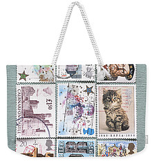 Old British Postage Stamps Weekender Tote Bag by Jan Bickerton