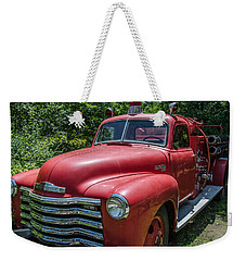 Old Chevy Fire Engine Weekender Tote Bag by Susan  McMenamin