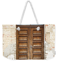 Weekender Tote Bag featuring the photograph Old Church Door by Les Palenik
