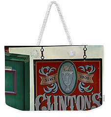 Old Clinton's Soda Fountain Sign Weekender Tote Bag