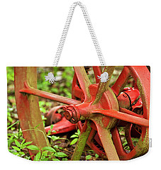 Old Farm Tractor Wheel Weekender Tote Bag