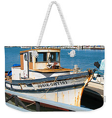 Old Fishing Boat In Sausalito Weekender Tote Bag by Connie Fox
