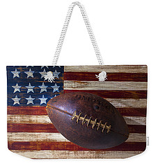 Old Football On American Flag Weekender Tote Bag by Garry Gay