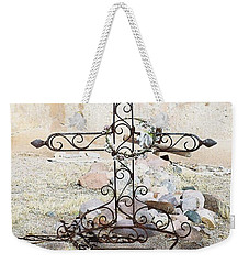 Weekender Tote Bag featuring the photograph Old Gravestone Marker by Kerri Mortenson