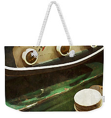Weekender Tote Bag featuring the painting Old Green Radio by Joan Reese