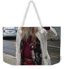 Weekender Tote Bag featuring the photograph Old Hippie In Woodstock Ny  by Anna Ruzsan