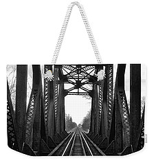 Old Huron River Rxr Bridge Black And White  Weekender Tote Bag by Daniel Thompson