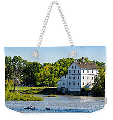 Old Mill On Grand River In Caledonia In Ontario Weekender Tote Bag