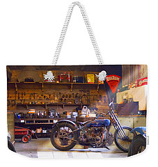 Old Motorcycle Shop 2 Weekender Tote Bag