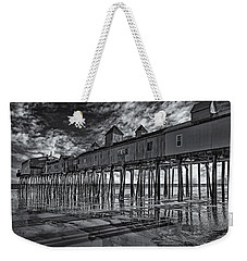 Old Orchard Beach Pier Bw Weekender Tote Bag