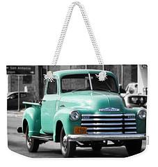 Old Pickup Truck Photo Teal Chevrolet Weekender Tote Bag
