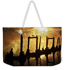 Weekender Tote Bag featuring the photograph Old Pier At Sunset by Marty Koch