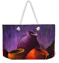 Weekender Tote Bag featuring the painting Old Pots 2 by Bozena Zajaczkowska
