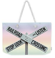 Old Railroad Crossing Sign Weekender Tote Bag