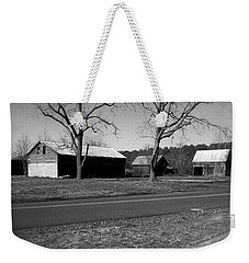 Weekender Tote Bag featuring the photograph Old Red Barn In Black And White by Amazing Photographs AKA Christian Wilson