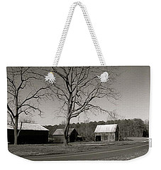 Old Red Barn In Black And White Long Weekender Tote Bag