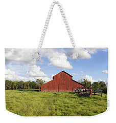 Weekender Tote Bag featuring the photograph Old Red Barn by Mark Greenberg