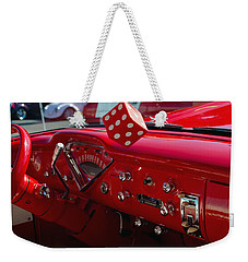Weekender Tote Bag featuring the photograph Old Red Chevy Dash by Tikvah's Hope