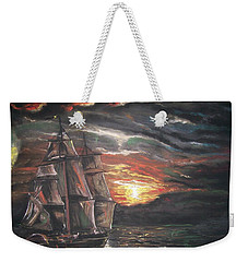 Weekender Tote Bag featuring the pastel Old Ship Of The Sea by Peter Suhocke