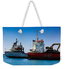 Weekender Tote Bag featuring the photograph Old Ships by Kevin Desrosiers