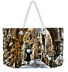 Weekender Tote Bag featuring the photograph Old Street In Jerusalem by Doc Braham