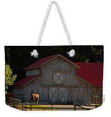 Weekender Tote Bag featuring the photograph Old-style Horse Barn by Jordan Blackstone