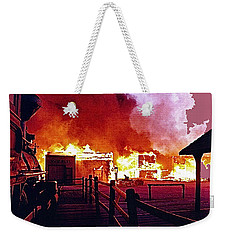 Weekender Tote Bag featuring the photograph Old Tucson In Flames by David Lee Guss