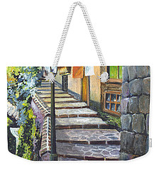 Weekender Tote Bag featuring the painting Old Village Stairs - In Tuscany Italy by Carol Wisniewski